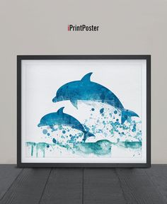 Dolphins print, Watercolor poster, Dolphin poster, Art, Illustration, Poster, Watercolor, Wall art, Artwork, Animal poster, Gift, Home Decor