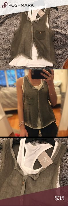 European Double layer olive green tank top Cute tank top, double layered with white tank top underneath. New with tags. Bought from Europe! Not s&s brand just tagged for exposure. No size indicated but fits like a S/M Sadie & Sage Tops Tank Tops