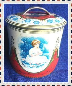 Vintage retro red, blue and gold english (?) cookie- or candy tin by PawhillTreasures on Etsy