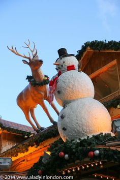 Birmingham has some of the biggest and best Christmas markets in Britain. This snowman and reindeer at the Birmingham Christmas market are examples of the festive decor that adorns many of the chalets in Victoria Square.