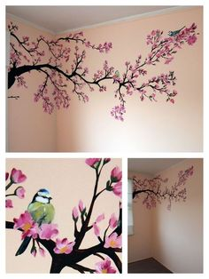 Bilder Wandmalerei: Frühlingsbaum Babyzimmer Mehr Get Your Dream Dining Room with the Right Furnitur Cherry Blossom Painting, Cherry Blossom Tree, Blossom Trees, Cherry Blossom Bedroom, Cherry Blossom Wallpaper, Cherry Tree, Tree Wall Painting, Painting Walls, Baby Painting