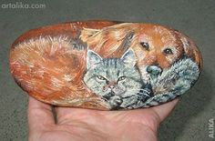 rock painted dogs | Pin by Gülay Erden on painted stones | Pinterest