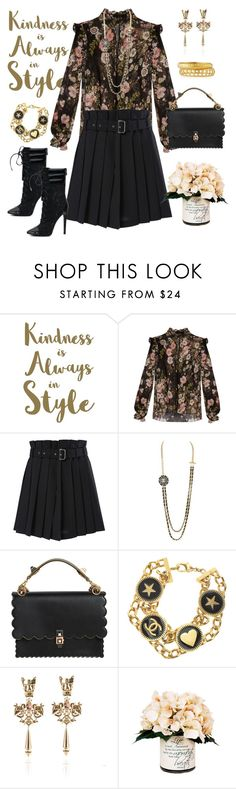 """""""Untitled #251"""" by elsienguyen202 ❤ liked on Polyvore featuring Sixtrees, Giambattista Valli, Diesel, Chanel, Fendi, Creative Displays and Ashley Pittman"""