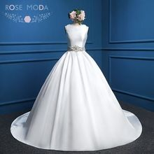 1930s Inspired Bateau Neck Sleeveless Clean Satin Ball Gown with Crystal Delfos Back Crystal Sash Wedding Dress Real Photos(China (Mainland))