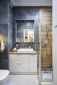 Nowoczesna łazienka z prysznicem z płytkami imitującymi beton i drewno Bathroom Toilets, Washroom, Bathroom Cabinets, Interior Design Living Room, Double Vanity, Indoor, House Design, Furniture, Home Decor