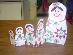 The Matryoshka is an unofficial mascot for the Sochi games; here's a class who made some with scrapbook paper. Also a link to drawing matryoshka for elementary kids. Around The World Theme, Holidays Around The World, Around The World Crafts For Kids, Multicultural Activities, Activities For Kids, Indoor Activities, Preschool Christmas, Christmas Art, Classroom Crafts