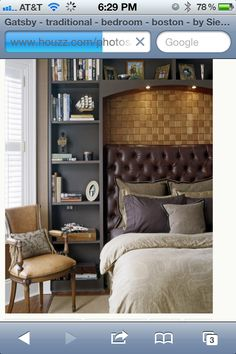 Bed with Leather headboard & shelves