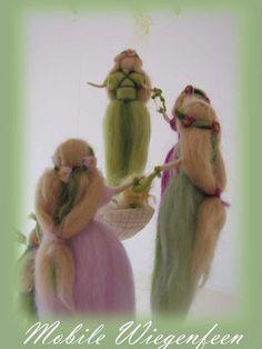 Wiegenfeen Mobile Fee Wolle Elfen Waldorf von LivelySheep auf Etsy