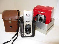 Vintage Argus Argoflex 75 film camera in the original box Circa 1949-1964, Great Display Camera