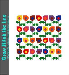 Drop shaped retro flowers in bright colours. Modern cross