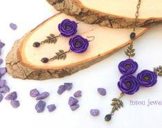 Plum Jewelry, Eggplant Plum, Plum Flower Earrings, Floral Statement Necklace, Purple Jewelry, Women Gift, Elegant Jewelry, Peony Jewelry