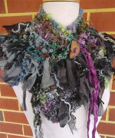Hand Spun Handknitted Art Yarn Recycled Silk Collar Scarf