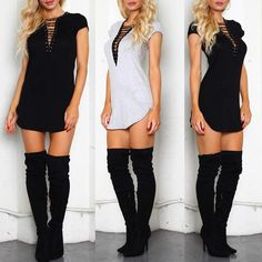 Trendy Side Slit Lace Up Casual Dress