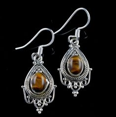 925 STERLING SILVER JEWELRY NATURAL TIGERS EYE GEMSTONE HANDMADE EARRINGS KJE91 #Unbranded