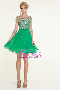 2015 Bateau A Line Short/Mini 3/4 Length Sleeve Prom Dress With Beaded Tulle Bodice And Chiffon Skirt