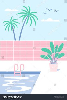 Color Vector, Cool Pools, Palm Springs, Pastel Colors, New Pictures, Royalty Free Photos, House Plants, Swimming Pools, Create Yourself