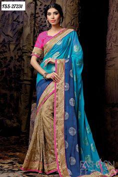 Z Fashion Trend: BEIGE AND BLUE DESIGNER SAREE WITH MAGENTA BLOUSE