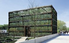 modern greenhouse. possible to construct one of the facade entirely of potted plants like this?
