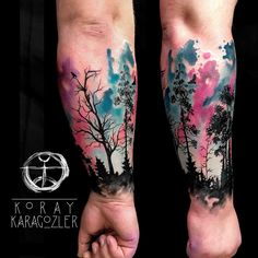 Watercolor Forest  #abstract #forest #tattoo #watercolortattoo #abstracttattoo #foresttattoo #tree #treetattoo #armtattoo #nebula #cosmos #koray_karagozler #koraykaragözler #tattrx #equilattera #istanbul #antalya #turkey