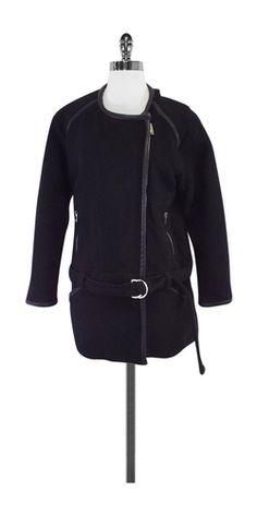Iro Black Cotton, Wool & Leather Zip Jacket