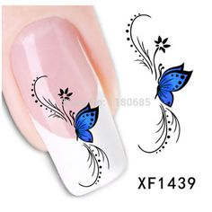 6 sheets 2014 New Nail Art Stickers Flower Blue Butterfly Water Transfer Decal Nail Art Stickers for Women
