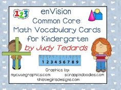enVision Common Core Math Vocabulary Cards for Kindergarten Envision Math Kindergarten, Kindergarten Readiness, Teaching Kindergarten, Teaching Ideas, Math Wall, Math Word Walls, Daily Five Math, Math Vocabulary Words, Transitional Kindergarten