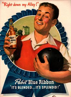 Advertising: vintage pabst beer bowling 1947 advertisement #Wisconsin #advertising #vintage