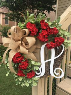 Red Geranium Wreath with Monogram~Summer Wreath~Wreaths for Front Door~New Home Gift~Door Decor~Flowers for SummerThis item is unavailable Summer Door Wreaths, Wreaths For Front Door, Christmas Wreaths, Spring Wreaths, Summer Christmas, Winter Wreaths, Diy Christmas, Red Geraniums, Potted Geraniums