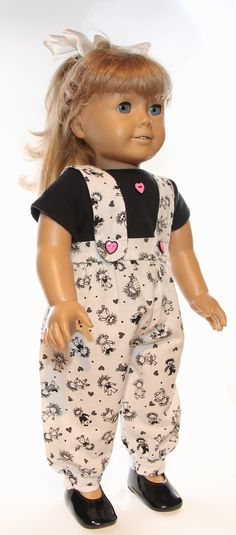 18 inch Doll Clothes Overalls and T Shirt American Girl. $16.99, via Etsy.