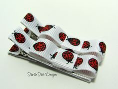 Baby Hair Clips  Red Ladybug  Tuxedo Bow Hair by TurtleTotsDesigns, $3.00