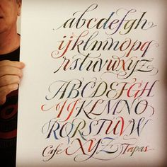 My colorful ruling pen alphabet as a larger print. | by JSD-calligraphy
