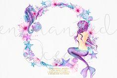 Enchanted Ocean - Watercolor Mermaid by Frou Fou Craft on @creativemarket