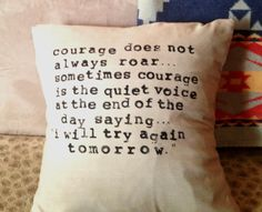 Linen Pillow Cover with Hand-Stamped Quote. $45.00, via Etsy.