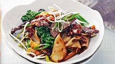 Charred beef and rice noodles.