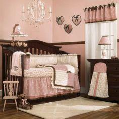 Flower Baby Girl Nursery 8pc Crib Bedding Set with Pink White & Brown Comforter