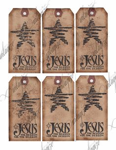 Instant download business card size jesus is the reason for the 350 printable rustic primitive christmas gift tags jesus is the reason original digital collage sheet reheart Choice Image