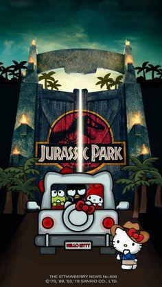 Sanrio Jurassic Park Hello Kitty Tattoos, Hello Kitty Art, Hello Kitty My Melody, Hello Kitty Birthday, Hello Hello, Kitty Kitty, Sanrio Wallpaper, Hello Kitty Wallpaper, Iphone Wallpaper