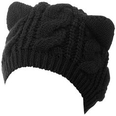 Black Cat Ears Knit Beanie Hat ❤ liked on Polyvore featuring accessories, hats, beanies, beanie hats, slouchy beanie, knit beanie, knit hats and bucket hats