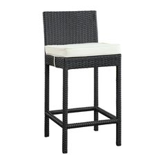 Modway Lift Brown Rattan Plastic Stationary Bar Stool Chair(s) with White Cushioned Seat at Lowe's. Gather stages of sensitivity with the Convene outdoor bar series. Made with a synthetic rattan weave and a powder-coated aluminum frame, Convene is a Patio Bar Stools, Outdoor Bar Stools, Bar Stool Chairs, Patio Dining Chairs, Pub Chairs, Counter Stools, Outdoor Dining, Star Wars, Pub Set