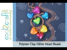 If you enjoy polymer clay, you'll love these sweet glittery heart charms!