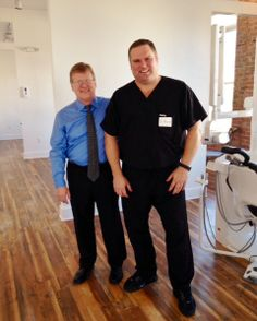 Dr. Moore is showing Dr. Scott Breazeale around our office.