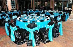 Black Blue Silver Centerpiece Centerpieces Chairs Outdoor Reception Place Settings Wedding Reception Photos & Pictures - WeddingWire.com