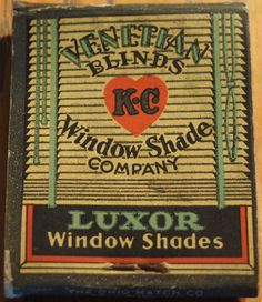 K C Window Shade Co. (Back Cover) Venetian Blinds and LUXOR Window Shades #frontstriker 20 strike #matchbook Pic. by Joe Danon. To order your business' own branded #matchbooks call 800.605.7331 or goto: www.GetMatches.com Today!