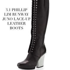 """NIB Phillip Lim 3.1 Juno Lace-Up Leather Knee Boot NWT! Phillip Lim 3.1 Runway Juno Knee Boot. The """"Juno Boot"""" is designed with black leather grain imported Italian leather with a 4 1/2"""" contrast lacquered chunky leather heel, a 15"""" shaft; 14-14.25 circumference.  Features a square toe off at front of boot & silver tone bar details on the front with side zip closure.. Leather and rubber sole. Box: Minor wear at edges of closing lid. Sold Out! Condition of Boots: Pristine-NWT-NIB (NEW IN BOX)…"""