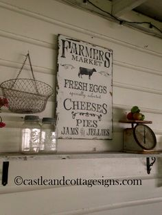 Farmhouse vintage Farmers Market sign handpainted. $58.00, via Etsy.