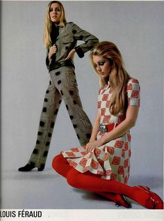 Louis Féraud 1969 - great idea for a lino cut repeat pattern 60s And 70s Fashion, Mod Fashion, Fashion Show, Vintage Fashion, Womens Fashion, Fashion Design, Seventies Fashion, Fashion Rings, Jeanne Lanvin