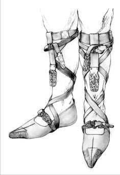 Reconstrution drawing of Arnegund's leg binding and shoes by Marquita Volken, ©GENTLE CRAFT, Lausanne