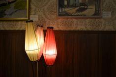 trearmad lampa 50-tal, vintage lampa