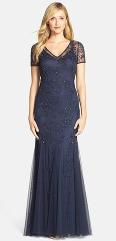 Beaded navy blue gown for the Mother-of-the-Bride | Stylish mother of the bride dresses