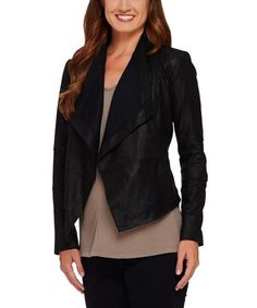 Look at this #zulilyfind! G.I.L.I Black Pocket Leather Open-Front Jacket - Plus Too by G.I.L.I #zulilyfinds